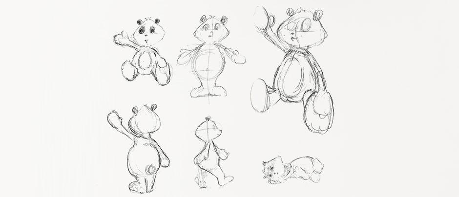 Dessin panda poses
