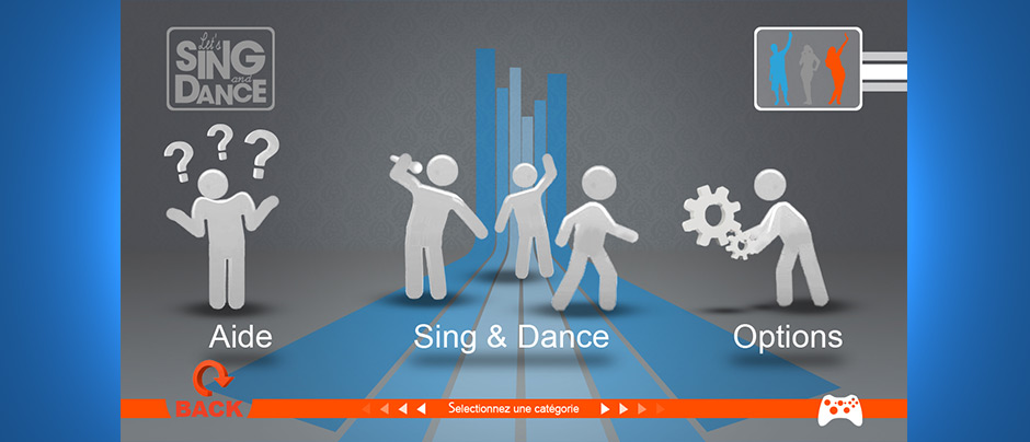 Interface utilisateur Let's sing and dance